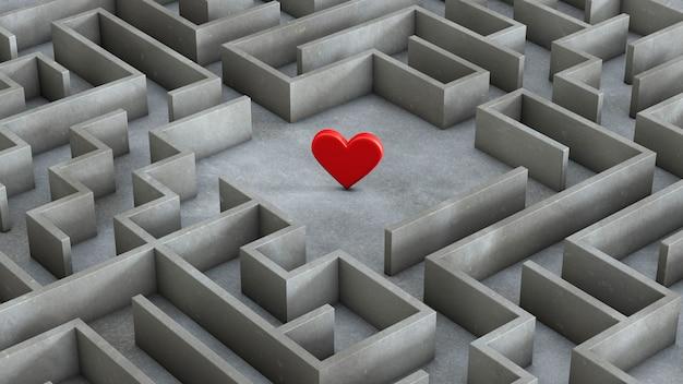 미로와 붉은 심장 내부. 사랑 검색 개념. 3d 렌더링.