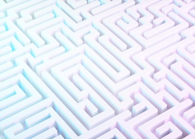Лабиринт в белом, синем и фиолетовом цветах. 3d иллюстрации.