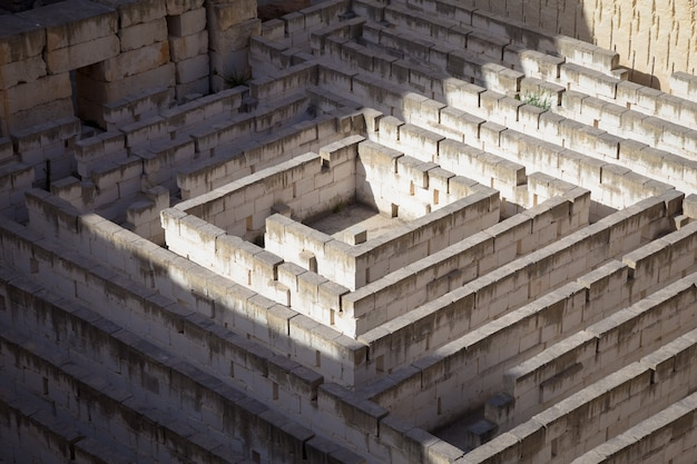 Labyrinth made of stone: conceptual for question, freedom and journey