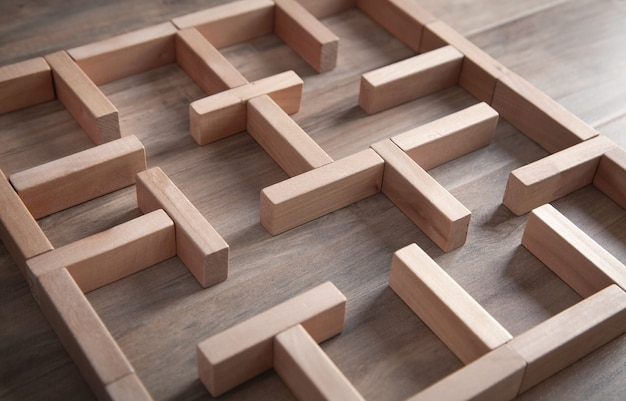 Labyrinth made in with wooden blocks.