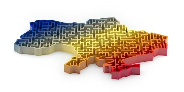 Лабиринтная карта украины с градиентом синего, желтого и красного цветов. 3d рендеринг