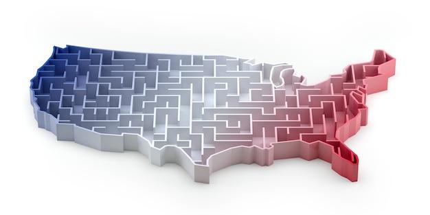 Лабиринт карта сша с градиентом цвета национального флага. 3d рендеринг