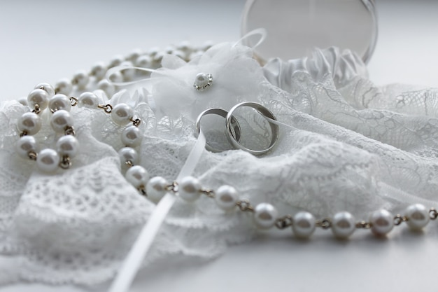 Lace wedding rings with pearl beads. wedding marriage