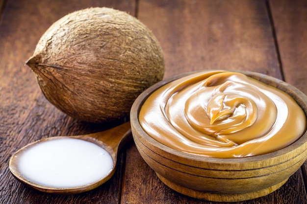 Lactose-free and gluten-free brazilian dulce de leche, made from coconut milk, vegan caramel or vegan dulce de leche