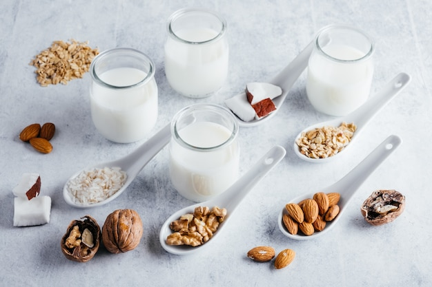 Lactose-free vegetable milk, coconut milk, almond milk, walnut milk, rice milk, and oat milk
