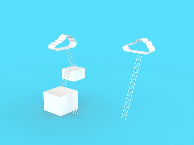 Ladder to clouds. compare three step and one step to goal success, isolated on light blue wall, illustration minimalistic design competition concept. 3d rendering.