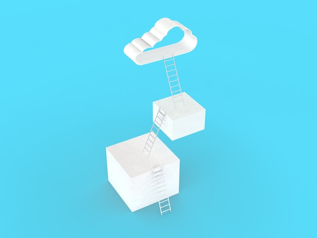 Ladder to clouds. many three step to goal success, isolated on light blue wall, illustration minimalistic design competition concept. 3d rendering.