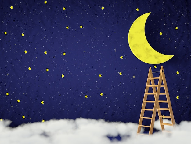 Ladder on the clouds and the moon and the stars