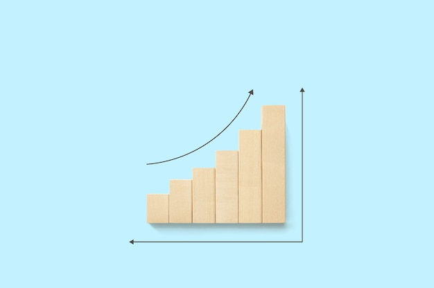 Ladder graph career path for business growth success process concept. wood block increase with arrow up and copy space