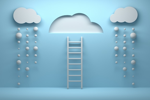 Ladder leading to a clear sky with clouds and falling rain