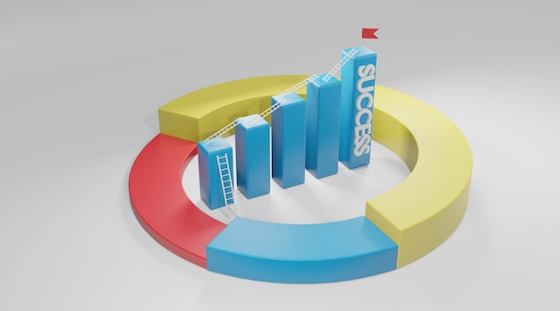 Лестница к более высокой гистограмме. концепция успеха бизнеса, 3d-рендеринг