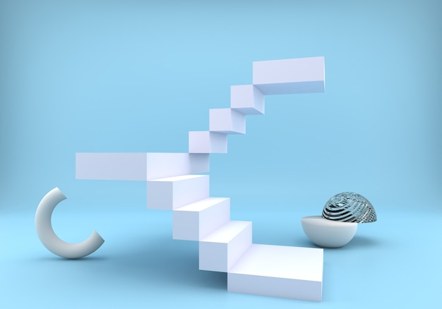Лестница с подиумом на синем