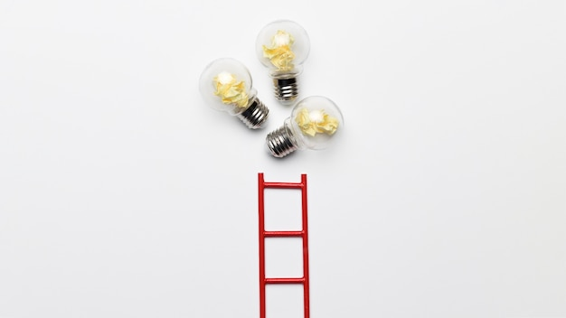 Ladder with light bulbs