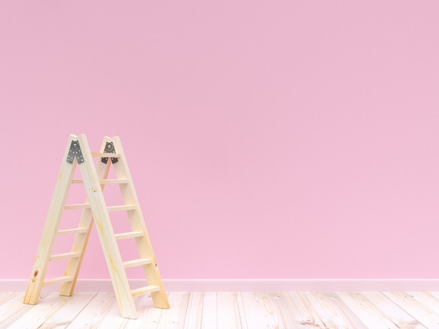 Ladder wooden on concrete wall pink color and wooden floor for background. 3d render.