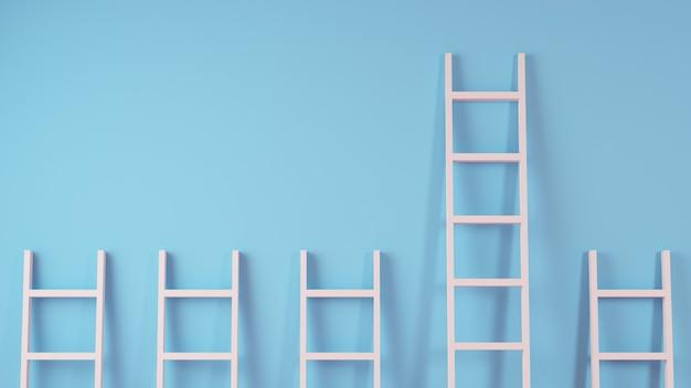 Лестницы на стене, концепция лидерства, 3d-рендеринг