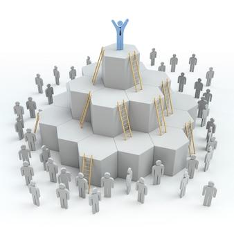 Лестницы с концепцией прогресса лидерства. 3d рендеринг