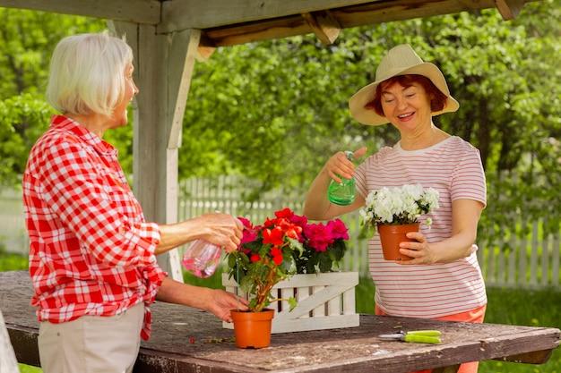 숙녀분들은 기분이 좋습니다. 냄비에 식물을 말하고 물을 주면서 기분이 좋은 나이 든 아름다운 여성