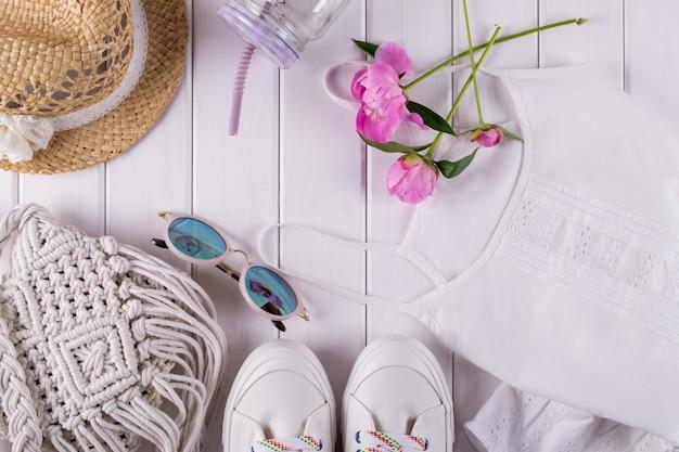 Ladies summer accessories macrame bag, glasses, hat, sneakers, flowers, jar