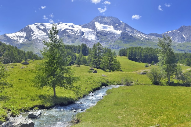 少しの川と雪と緑の牧草地の高山山の美しい風光明媚なladscape