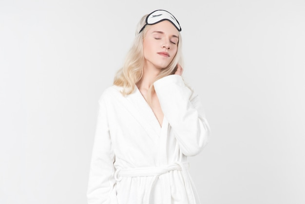 Lady dream with white bathrobe