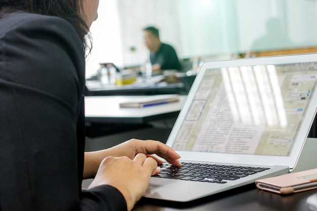 Lady hand type laptop