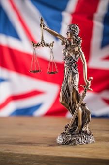 正義の女神とイギリスの旗。英国国旗のある法と正義の象徴。ブレグジット。