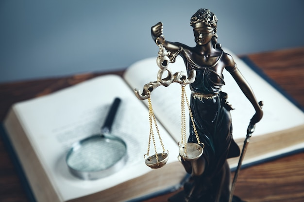 Lady justice with magnifier on book