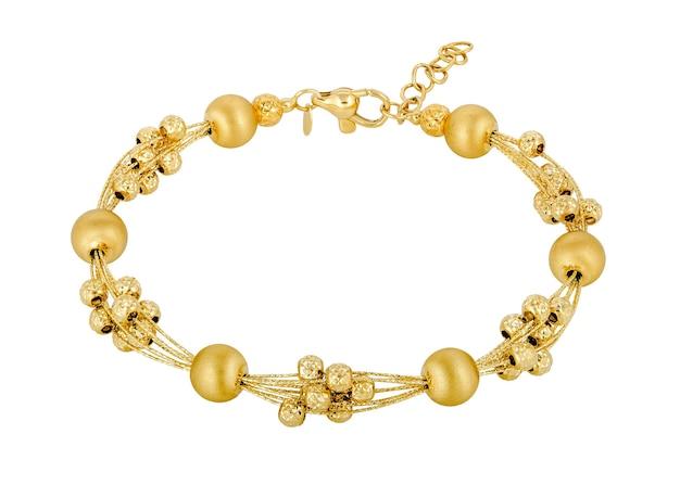 숙녀의 금 팔찌. 세련된 보석 여성의 선물.