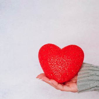 Lady's hand with decorative heart