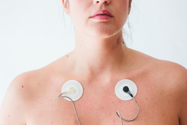 Lady with electrodes on body