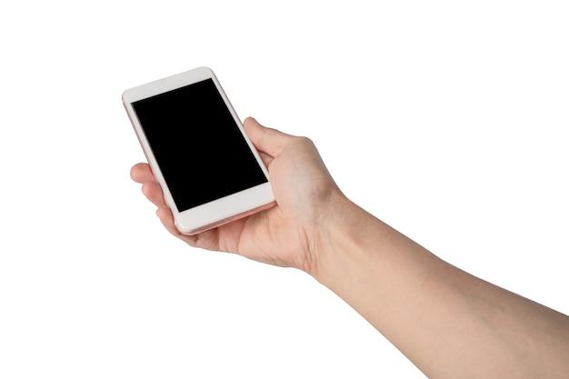 白い背景で隔離の携帯電話を持っている女性の女性の手。