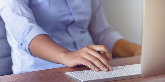 Lady working at home with computer