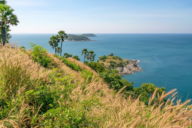Laem promthep cape with coconut palm trees and grass in the foreground beautiful scenery andaman sea in summer season phuket thailand beautiful travel background.