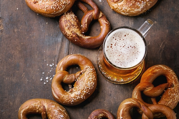 Lager beer with pretzels