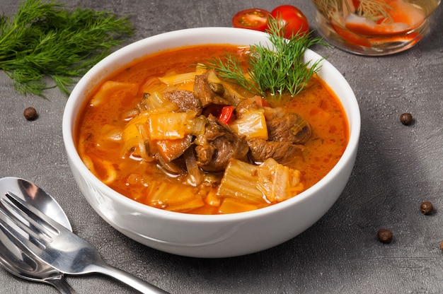 Lagman with noodles is a traditional uzbek dish