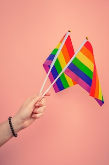 Lags of the lgbt community in a hand