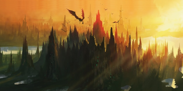The lair of the dragon by the river valley illustration.