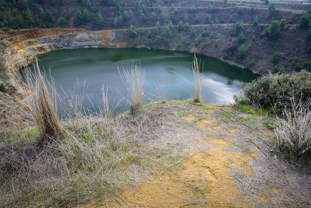 Lake in abandoned open pit copper mine of north mathiatis cyprus
