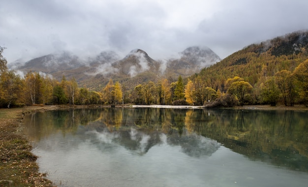 안개가 자욱한 하늘과 가을의 호수와 숲