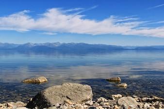 Lake Baikal and  mountains