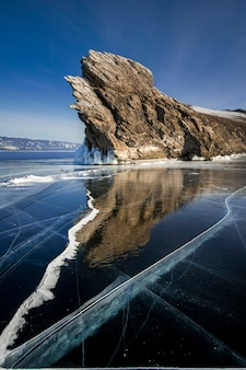 Lake baikal covered ice and snow, clear blue ice