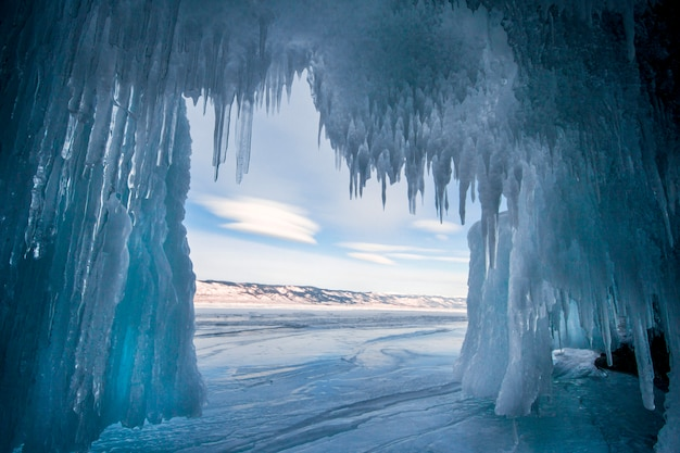 Lake baikal is a frosty winter day. water