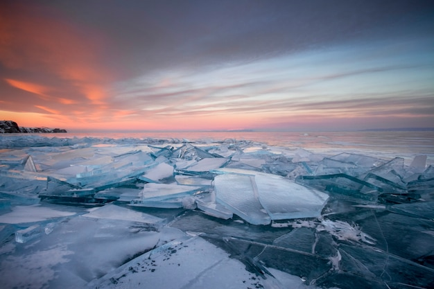 Lake baikal in the rays of the setting sun. amazing place, unesco world heritage