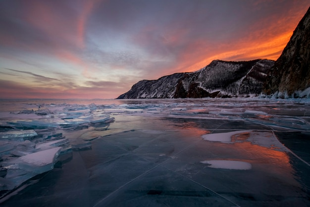Lake baikal sunset, everything is covered ice snow