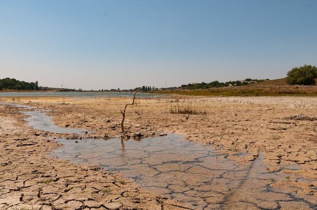 Высыхание дна озера из-за засухи.