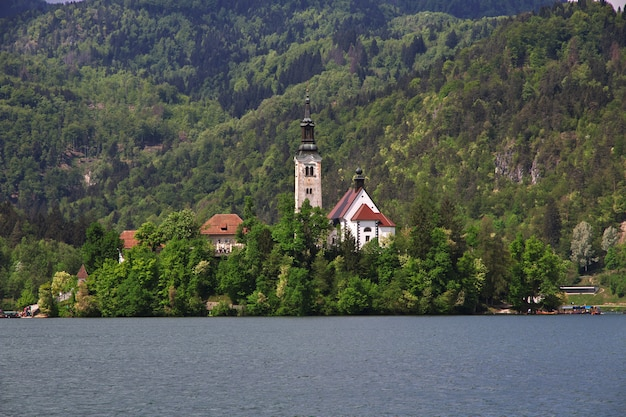 Lake bled in the alps of slovenia