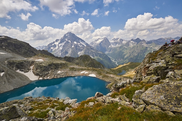 Lake caucasus mountains in summe