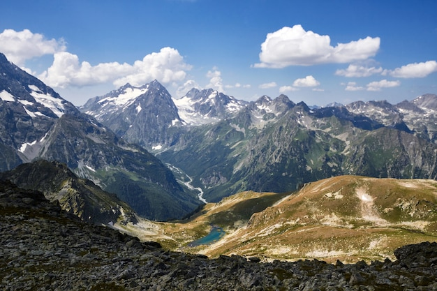Lake caucasus mountains in summer, the melting of glacier ridge arkhyz sofia lake