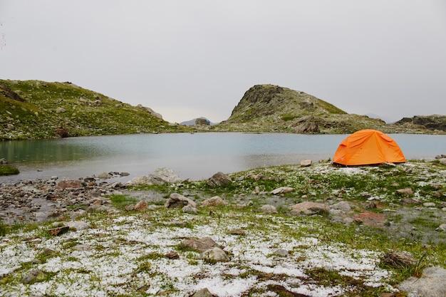 Lake caucasus mountains in summer