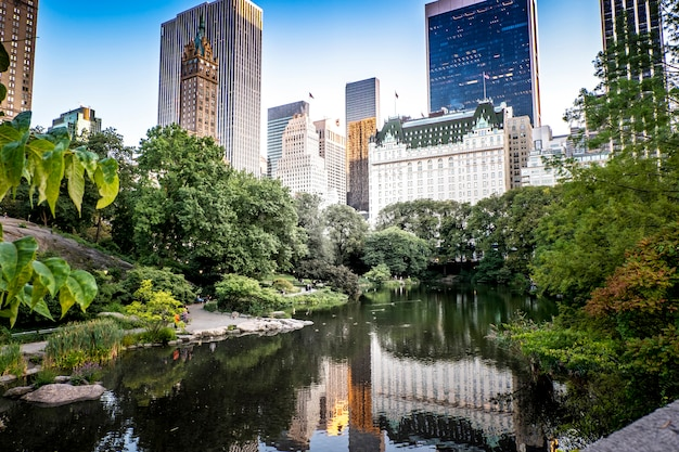 Lake in central park, new york, usa